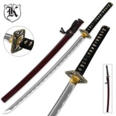 Dueling Dragon Samurai Katana Sword Carbon Steel Crimson With Scabbard