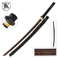 Dragon Stalker Katana Sword Rich Black Damascus Steel Blade