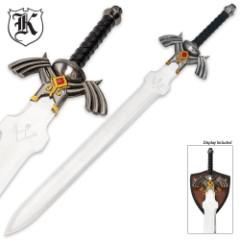 Zelda Master Triforce Fantasy Sword With Display Plaque
