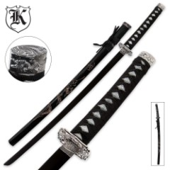 Doragon Katana Sword With Engraved Scabbard