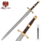 Legends In Steel Brass, Heartwood And Damascus Steel Sword