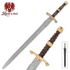 Legends In Steel Rosewood & Damascus Steel Sword
