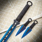 Blue Two-Tone Sword and Throwing Knives Set