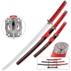 Bloody Ebony 3-Piece Carbon Steel Katana Set with Display Stand