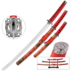 Scarlet Katana 3-Piece Carbon Steel Sword Set with Display Stand