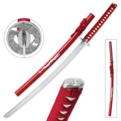Ruby Dragon Katana With Wooden Scabbard