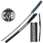 Teal Warrior Samurai Sword With Open Scabbard