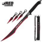 Red Guardian Ninja Sword and Kunai / Throwing Knife Set with Sheath