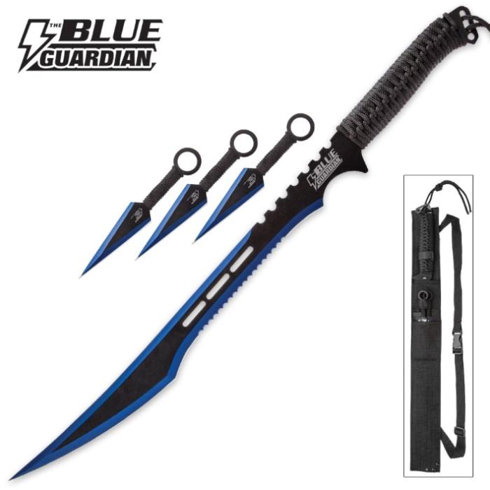 Blue Guardian Ninja Sword and Kunai / Throwing Knife Set ...