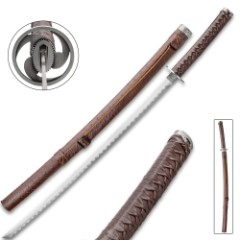 Gankyil Katana With Faux Leather Scabbard - Stainless Steel Blade, Faux Leather Wrapped Handle, Wooden Display Stand - Length 36 1/4""