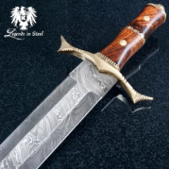 Royal Ranger Damascus Sword And Sheath - Damascus Steel Blade, Wooden Handle, Metal Guard And Pommel - Length 28""