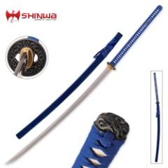 Shinwa Blue Mammoth Damascus Sword
