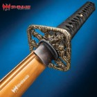 "Shinwa Fighting Dragon Katana And Sheath - 1045 Carbon Steel Blade, Cast Metal Alloy Tsuba, Black Brass Habaki, Faux Rayskin - Length 39 1/2"""