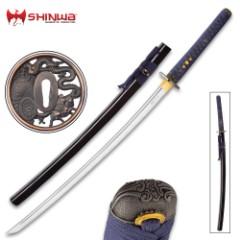"Shinwa Hand-Forged Sea Serpent Katana With Scabbard - 1045 High Carbon Steel Blade, Hardwood Handle, Genuine Rayskin, Brass Habaki, Cast Metal Tsuba - Length 41 3/4"""