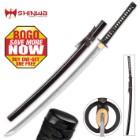 Shinwa Royal Emperor Handmade Katana / Samurai Sword - Hand Forged Damascus Steel, Hamon - Razor Sharp, Full Tang - Battle Ready, Fully Functional, Ninja Tough - Genuine Ray Skin, Custom Tsuba - BOGO