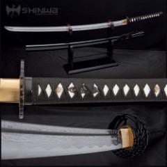 Shinwa Royal Warrior Handmade Katana / Samurai Sword - Hand Forged Damascus Steel, Hamon - Razor Sharp, Full Tang - Fully Functional, Ninja Bold - Genuine Ray Skin, Cord Wrap, Custom Wing Tsuba Design