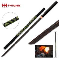 Shinwa Green Dragon Black Damascus Shirasaya Sword