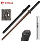 Shinwa Abyss Handmade Katana / Samurai Sword - Double-Edged; Hand Forged Black Damascus Steel - Razor Sharp, Full Tang - Fully Functional, Battle Ready, Ninja Sleek - Ray Skin, Cord , Dragon Tsuba