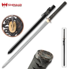 Shinwa Dragon Lord Handmade Katana / Samurai Sword - Double Edged; Hand Forged Damascus Steel, 1,000+ Layers - Distinctive Custom Dragon Tsuba - Genuine Ray Skin - Functional, Battle Ready, Full Tang