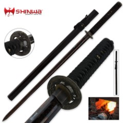 Shinwa Double Edged Black Damascus Regal Zatoichi Katana