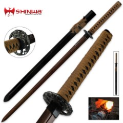 Shinwa Double Edged Regal Damascus Katana Sword