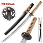 Shinwa Regal Makaku Wakizashi / Samurai Sword - Hand Forged Damascus Steel - Custom Cast Macaque Monkey Tree Tsuba  - Genuine Ray Skin; Hand Lacquered Saya - Fully Functional, Battle Ready, Full Tang