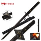 Shinwa Black Knight Damascus Wakizashi Sword