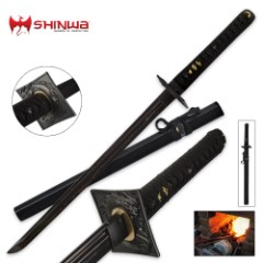 Shinwa Black Knight Damascus Wakizashi Sword