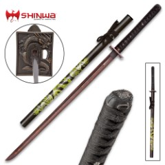 Shinwa Knights Dragon Katana Black Damascus Sword