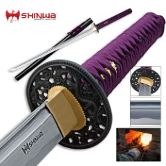 Shinwa Purple Emperor Damascus Steel Katana Sword