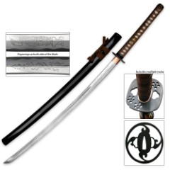 Ten Ryu Hand Forged Samurai Katana Sword With Lacquered Scabbard