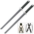 Double Strike Ninja Twin Sword Set With Shoulder Harness