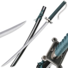 "Jade Warrior Katana / Samurai Sword with Black Lacquered Saya / Scabbard - Forest Green Cord Wrapping - Two-Tone Carbon Steel Blade - Custom Cast Tsuba - Pommel / Kashira Chain - 41"""