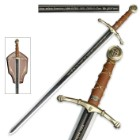 Middle Ages Long Sword With Display Plaque