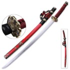 Ten Ryu Ruby Dahlia Katana with Scabbard - 1045 High Carbon Steel