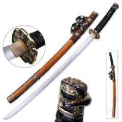 Ten Ryu Oriental Dahlia Katana with Scabbard - 1045 High Carbon Steel