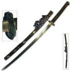 Ryumon Sceptre Damascus Steel Katana with Copper Saya - Genuine Ray Skin; Exquisite Gilt Pattern