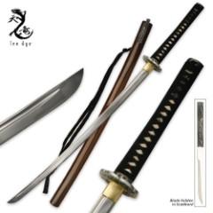 Ten Ryu 1045 Carbon Steel Katana Sword & Throwing Knife Combo Brown