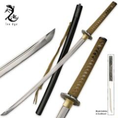 Ten Ryu 1045 Carbon Steel Katana Sword & Throwing Knife Combo Black