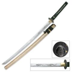 Ten Ryu Horimono Dragon Katana Sword With Scabbard
