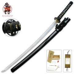 Ryumon Dragon Katana Sword with Black Lacquered Scabbard