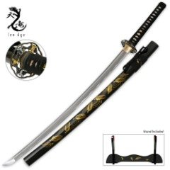 Ten Ryu Golden Leaf Katana Sword with Scabbard