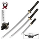 Black Hand Forged Samurai Sword Set