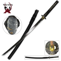 Black Dragon Samurai Sword Black with Scabbard