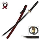Musha Hand Forged Samurai Sword with Burgundy Scabbard