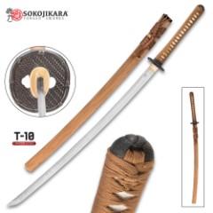 Sokojikara Bambusa Handmade Katana / Samurai Sword - T10 High Carbon Steel, Hand Forged, Clay Tempered - Genuine Ray Skin; Iron Tsuba - Functional, Full Tang, Battle Ready