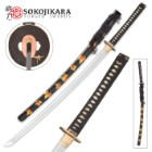 Sokojikara AutumnSlash Handmade Katana / Samurai Sword - Hand Forged, Clay Tempered T10 High Carbon Steel - Ray Skin; Brass Tsuba - Gold Color Leaf Saya - Functional, Full Tang, Battle Ready