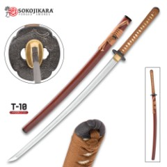 Sokojikara Kitsune Handmade Katana / Samurai Sword - Hand Forged, Clay Tempered T10 High Carbon Steel - Genuine Ray Skin; Iron Tsuba - Traditional Japanese Style - Functional, Full Tang, Battle Ready