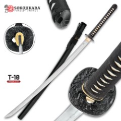 Sokojikara Scorn Handmade Katana / Samurai Sword - Hand Forged, Clay Tempered T10 High Carbon Steel - Genuine Ray Skin; Iron Tsuba - Functional, Full Tang, Battle Ready