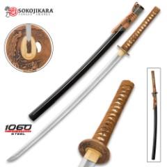 Sokojikara Kodama Handmade Katana / Samurai Sword - Hand Forged, Clay Tempered 1060 High Carbon Steel - Genuine Ray Skin; Bronze Tsuba - Functional, Full Tang, Battle Ready